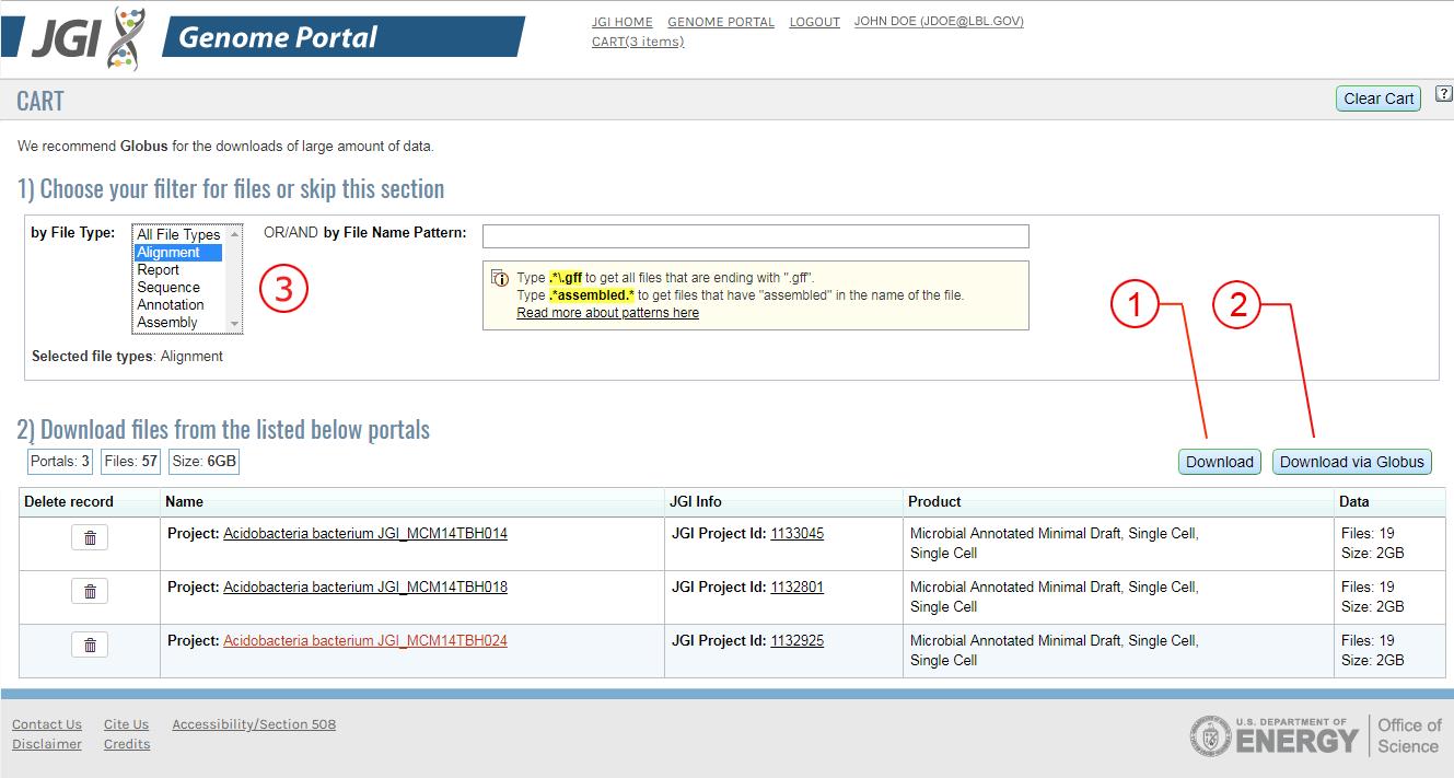 JGI Genome Portal Help: The Download Area